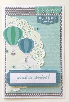"""""""Precious Arrival"""" Card for a Boy. by Amanda Baldwin for Kaisercraft 'Little One' collection - Wendy Schultz ~ Baby Cards Birthday Gift Wrapping, Birthday Cards, Baby Boy Cards, Baby Boy Scrapbook, Happy Parents, Beautiful Handmade Cards, Baby Makes, Card Maker, Kids Cards"""