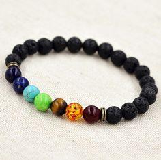 7 Chakra Lava Bracelet - Yogi Healing Jewelry
