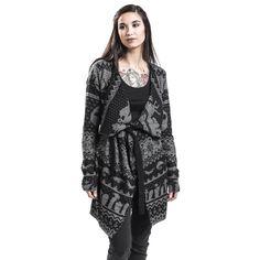 """Cardigan donna """"Norwegian Cardigan"""" di #TheNightmareBeforeChristmas con stampa/ricamo allover in grigio e nero."""