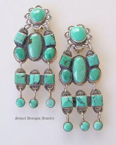 Federico Long Turquoise Chandelier Earrings