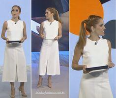 Look branco da Poliana Abritta no Fantástico 06 de Fev