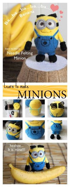 "Detail tutorial to make needle felted Minions with step by step instructions and photos. It is about 4"" high but you can always make it into other sizes and into other Minions characters."