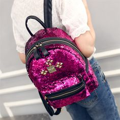 2d230195a8bc Luxury brand woman backpack rivets design bling bling schoolbags for girls  rivet studs backpack glitter woman mochilas shiny bag-in Backpacks from  Luggage ...