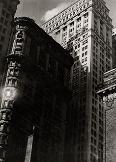 Paul Strand. From the El - 1917.  I like the perspective/form of this image. The pattern of the windows in the buildings adds detail to the image and the lines of the buildings act as leading lines to move your eyes around the picture.
