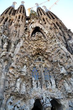 amazing architectural detail on the front of the sagrada familia barcelona.