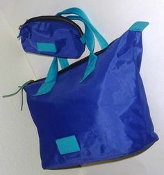 Marc by Marc Jacobs Logo Nylon Pouch Durable Tote in Royal Blue/Turquoise