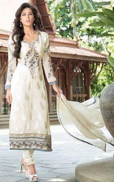 Picture of Fabulous Off White Designer Churidar Kameez
