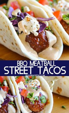 BBQ Meatball Street Tacos are made with a simple slow cooker bbq meatball recipe, topped with cabbage, goat cheese & the best burger sauce ever. These are everything you love in a burger AND tacos & so uniquely delicious. via @KleinworthCo #streettacos #bbq #meatball #dinner #slowcooker #easyrecipes #easyfamilydinnerideas #cincodemayo #summer #familydinner