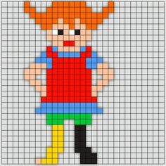 Pippi – Mus og Trold Fuse Bead Patterns, Beading Patterns, Cross Stitch Patterns, Tapestry Crochet Patterns, Pippi Longstocking, Hama Beads Design, Bobble Stitch, Beaded Cross Stitch, Knitting Charts