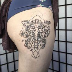 Rib Cage Tattoo by Melka #ribcage #ribcagetattoo #bone #bonetattoo #skeleton #skeletontattoo #Melka