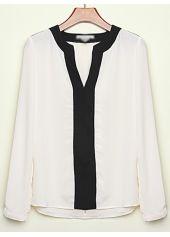 Color Block Long Sleeve V Neck Shirt