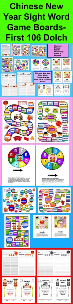 $  Chinese New Year Sight Words Literacy Centers Game Board Activities –  5 Different Game Boards - 19 Page download - 5 different Chinese New Year themed game boards for the first 106 Dolch sight vocabulary words.  I have included 6 spinners.  (Game boards with the last 114 Dolch are available in my product listings.) Some of the spinners have higher numbers to make the game go faster. You could also use dice.  Gameboards are themed around Chinese New Year.
