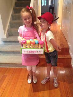 easy , brilliant Italian Day costumes. Pinocchio & Gelati