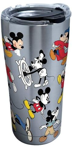 Tervis 1297811 Disney-Mickey Mouse Birthday Stainless Steel Insulated Tumbler with Clear and Black Hammer Lid, 20 oz, Silver