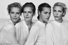 Famous faces: Models Eva Herzigova, 42, Stella Tennant, 45, Yasmin Le Bon, 51, and Nadja Auermann, 44, (from left to right) star in Giorgio Armani's New Normal spring/summer 2016 campaign