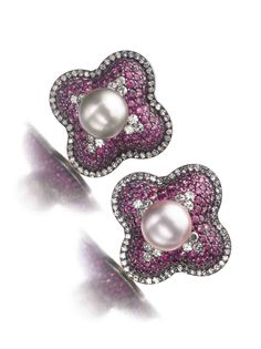 Natural pearl, ruby and diamond earrings by JAR - Est. CHF 380,000 -  660,000 / $400,000 - $700,000