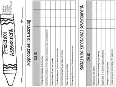 This is an assessment used to evaluate preschool age children. It evaluates areas including: Approaches to Learning, Social and Emotional Development, Language Development, Literacy, Math, Science, Creativity, and Physical Health and Development. I aligned this assessment with the Rhode Island Early Learning Standards.There are three slots for assessment times throughout the year.