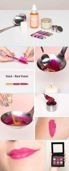 Lleva el color de lipstick que quieras con tan sólo una caja de Crayolas.
