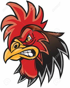 Illustration about Vector cartoon clip art illustration of a rooster or gamecock or chanticleer mascot head. Illustration of drawing, character, sport - 54279508 Rooster Tattoo, Rooster Logo, Rooster Art, Rooster Vector, Chicken Drawing, Chicken Painting, Chicken Logo, Chicken Art, Hahn Tattoo