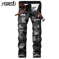 34.78$  Buy now - http://alilnv.shopchina.info/go.php?t=32797336825 - #2791 2017 Straight Black jeans men Motorcycle Biker Fashion Hip hop jeans Ripped jeans for men Slim fit Mens jogger jeans 34.78$ #buymethat