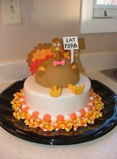 Beautiful cake perfect for Thanksgiving or Autumn gathering    Bake     What I really like about this cake is the scattered candy corns around the  bottom  Thanksgiving CakesTHANKSGIVING IDEASHoliday