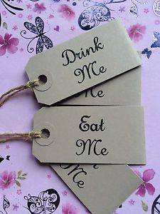 *REDUCED* 15 DRINK ME EAT ME SMALL ALICE WEDDING BUFFET LABELS TAGS WHITE
