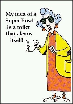 funny cartoon super bowl is a toilet that cleans itself