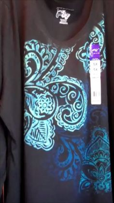 Women's Glitzy Tee, Size 5X, JMS, L/S V Neck, Black w/Turquoise Swirl Glitter! #JustMySize #GraphicTee