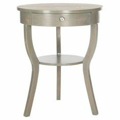 """Elm wood end table with a grey finish and cinched silhouette.   Product: End tableConstruction Material: Elm woodColor: Ash greyDimensions: 30.3"""" H x 22"""" Diameter"""