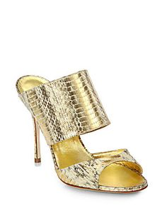 Manolo Blahnik Ripta Metallic Snakeskin Mules Manolo Blahnik Ripta Metallic Snakeskin Mules 0452428812671 Be The First to Write a Review Q & A:Ask a Question Size GuideSize:Fit Predictorcalculate your size 35 (5)35.5 (5.5)36 (6)36.5 (6.5)37 (7)37.5 (7.5)38 (8)38.5 (8.5)39 (9)39.5 (9.5)40 (10)40.5 (10.5)41 (11)41.5 (11.5)42 (12) Color:Gold $865.00 ADD TO BAG Color/size unavailable? Add to Wait ListAlso available in store Details Exotic metallic snakeskin meets sultry two-strap mules. Self…