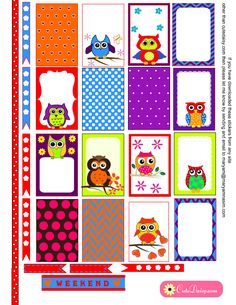 Free Printable Colorful Owl Stickers for Happy Planner