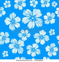 Embroidery white flowers on blue background. Seamless pattern. For textile design. Raster copy.
