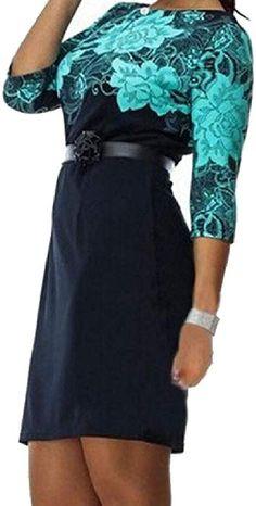 14e483018f651 Amazon.com  Abetteric Women Print Stitching High Waist Oversized Skinny Mid  Length Dress White M  Clothing