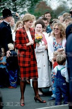 October, 1990: LtoR Graham Smith-Royal protection officer, Princess Diana and Anne Beckwith Smith, Tenderden, Kent, Britain