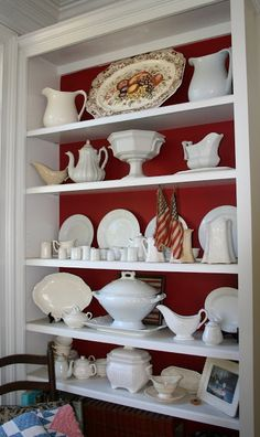 Antique Ironstone Collection shown off against a scarlet background.  I never thought of red.  This is great! ~MWP - Ironstone and Pine: Yes, I am an Ironstone Addict!