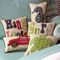 Needlepoint Surf Pillows - tropical - pillows - by PBteen