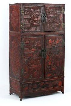 Unique Chinese Black Lacquer Cabinet