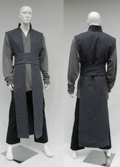 Textured Linen Surcoat and Grey Knitwear Tunic Jedi Outfit August Jedi Outfit, Jedi Cosplay, Cosplay Costumes, Diy Jedi Costume, Costume Halloween, Diy Costumes, Halloween Diy, Costume Ideas, Robe Jedi