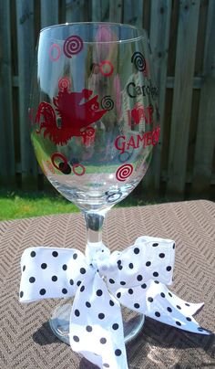 SOUTH CAROLINA  Personalized Wine Glass - Carolina Girls Love Their Gamecocks. $16.00, via Etsy.