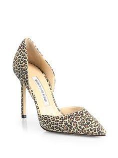 MANOLO BLAHNIK Tayler Leopard-Print Suede D'Orsay Pumps. #manoloblahnik #shoes #pumps