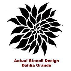 Dahlia Grande Flower Stencil See more Flower & Vine Stencils: http://www.cuttingedgestencils.com/stencils-flower-stencil.html #flower #vine #stencils