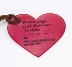Personalized Leather Luggage Tag Heart shape by TrueHeartStyle