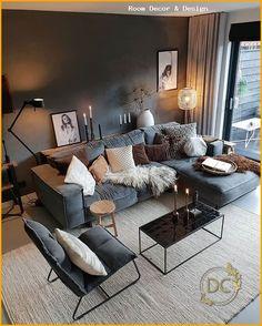 sven briar gray right sectional sofa modern living room 36 « Home Design Manly Living Room, Living Room Decor Cozy, Living Room Grey, Living Room Interior, Home Living Room, Apartment Living, Cozy Living, Dining Room Colors, Living Room Color Schemes