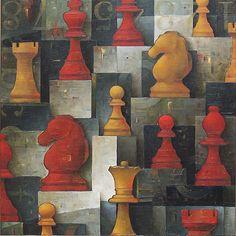 "Galleria scorrevole. Sergio Cerchi, italian painter (Firenze), ""Chess III"", oil on canvas."