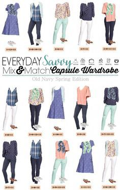 This new Old Navy Spring Capsule Wardrobe just might be my favorite! I am a sucker for the blues, mint and coral with the floral and stripes. Mint jeans and white jeans are both in style Old Navy, Capsule Wardrobe Mom, Work Wardrobe, Casual Outfits, Cute Outfits, Navy Outfits, Casual Attire, Fashion Outfits, Fashion Fashion