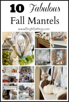 10 Fabulous Fall Mantels to add autumn texture and pattern to your home! It's time to showcase fall orange and rust colors as well as natural elements. Thanksgiving Decorations, Seasonal Decor, Halloween Decorations, Fall Decorations, Holiday Decor, Fall Mantels, Mantles, Mantle Decorating, Decorating Ideas