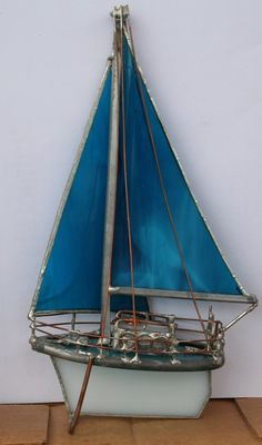 Dark Turquoise Stainedglass Sail Boat Small