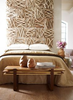 Creative headboard made of accessories: Phillips Collection Vine Wall Decor