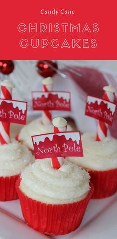 Candy Cane Christmas Cupcakes Recipe | North Pole Cupcakes Recipe created from sour cream cupcakes, candy canes and a touch of pixie dust.  #CandyCaneRecipes #CandyCane #NorthPoleRecipes #NorthPoleCupcakes #CandyCaneCupcakes  via @stillblondeaaty