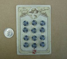 ButtonArtMuseum.com - 12 Small Antique 20s Pointy Grey Round Czech Glass Buttons on Card Doll Jewelry